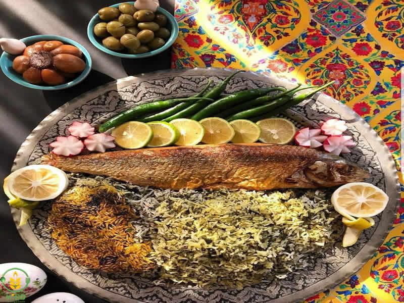 رسپی سبزی پلو با ماهی شکم پر